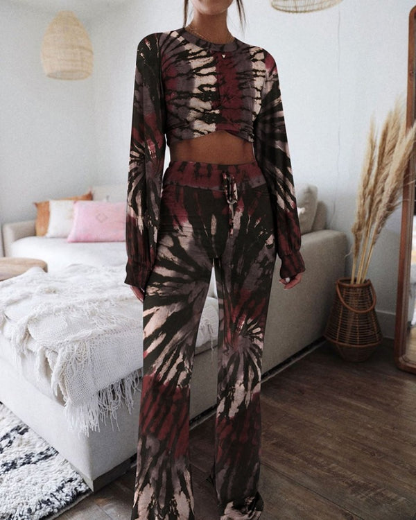 Tie Dye Print Two-Piece Lounge Set