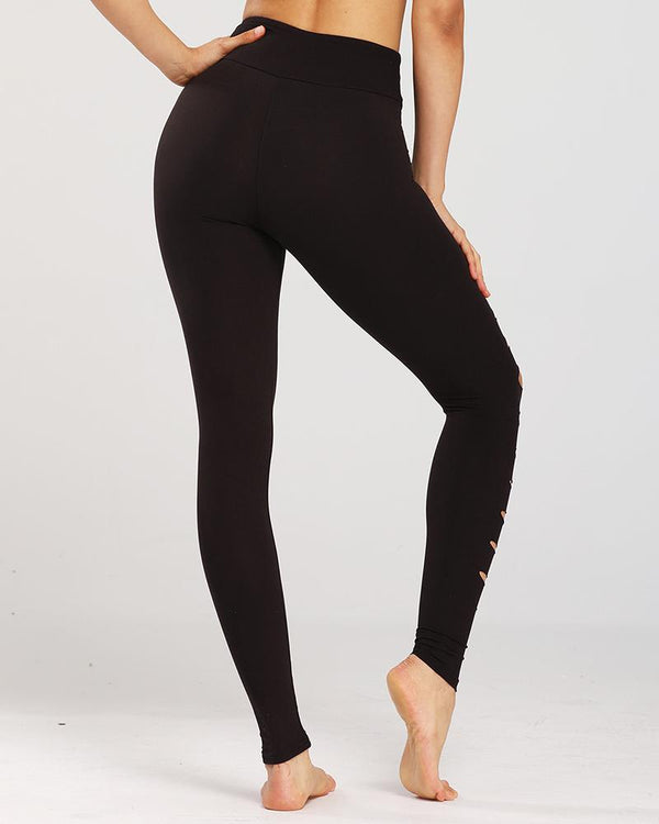 Solid Color Fit Long Yoga Ripped Pants