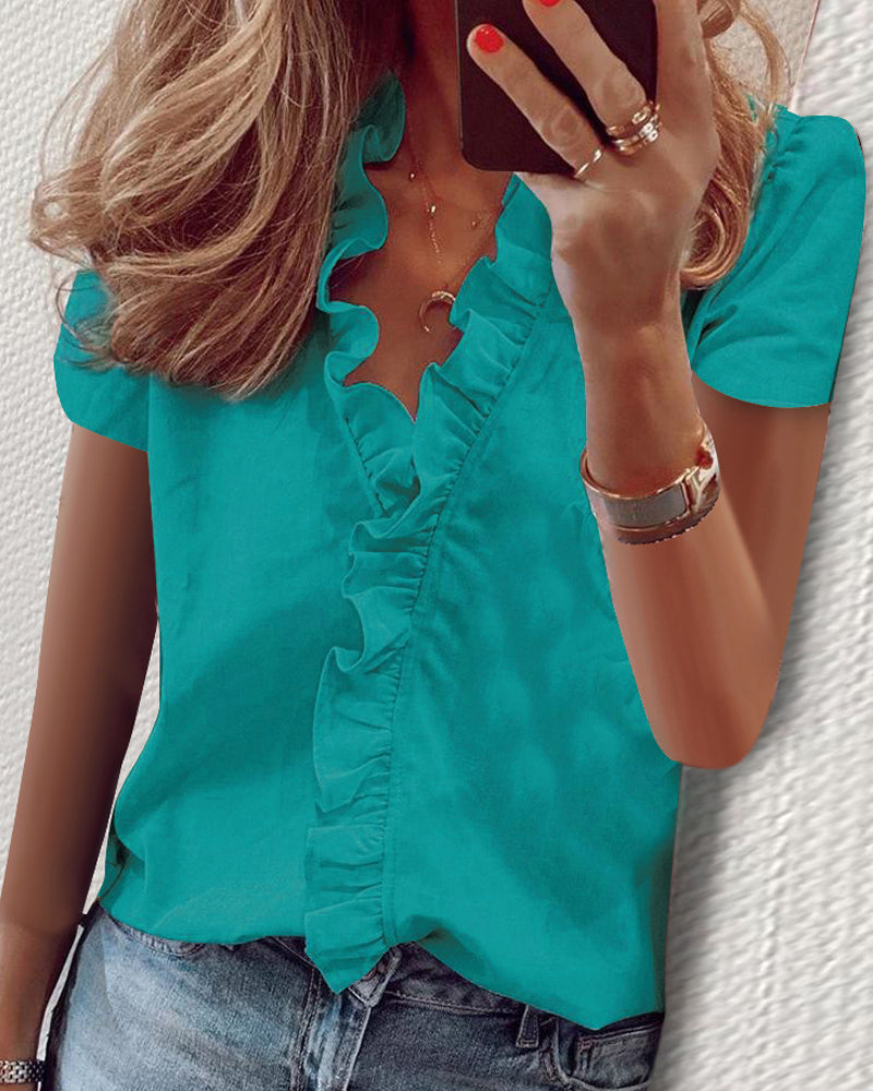 Solid Short Sleeve Ruffles Blouse