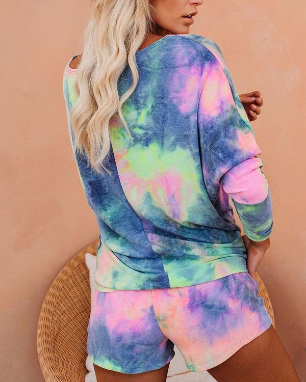 Tie Dye Print Top & Drawstring Shorts Set