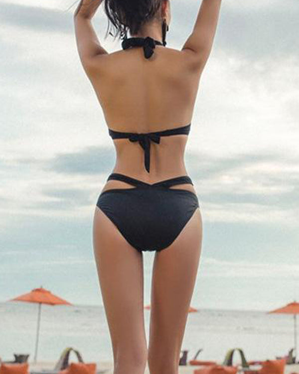 Halter Cut Out One-Piece Swimsuit