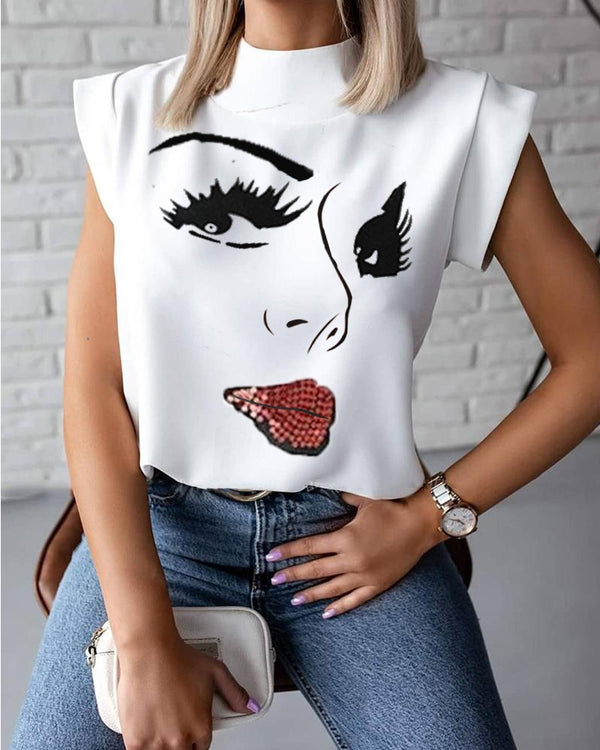 Figure Print Casual Top