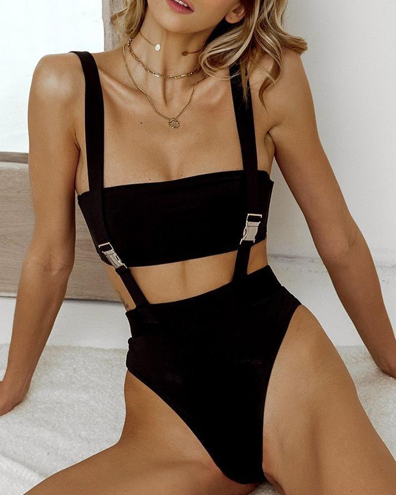 Minimal Shoulder Straps Push Buckle One-Piece Swimsuit