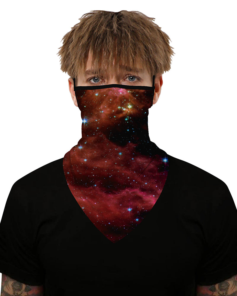 Starry Sky Print Ear Loop Breathable Face Cover Windproof Motorcycling Dust Outdoors