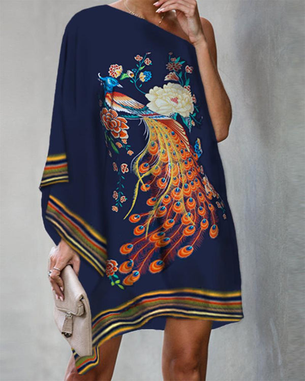 Colorful Peacock Printing One Shoulder Single Sleeve Loose Dress