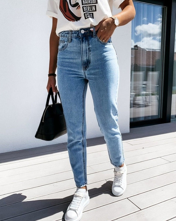 Solid Skinny Denim Feet Pants Jeans