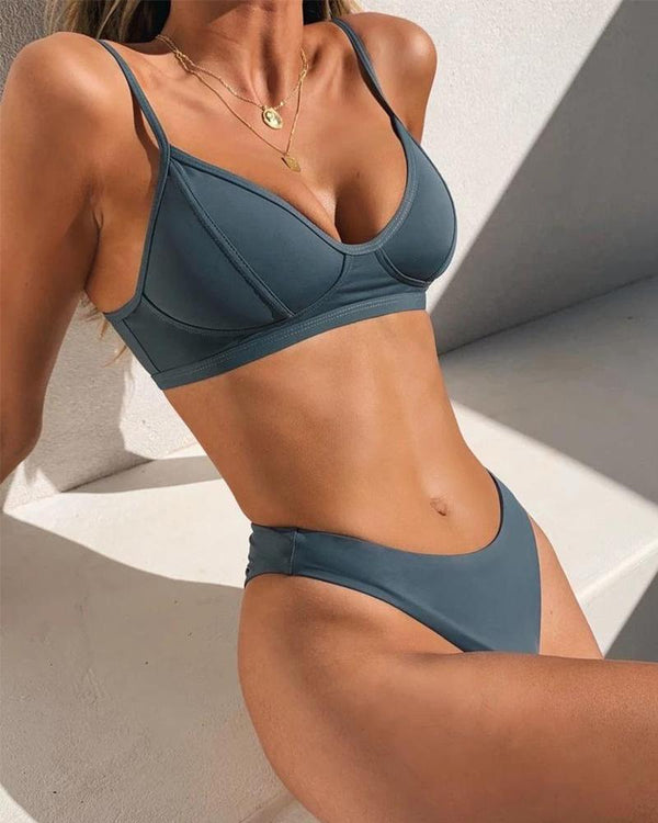 Solid Push Up Bikini Set