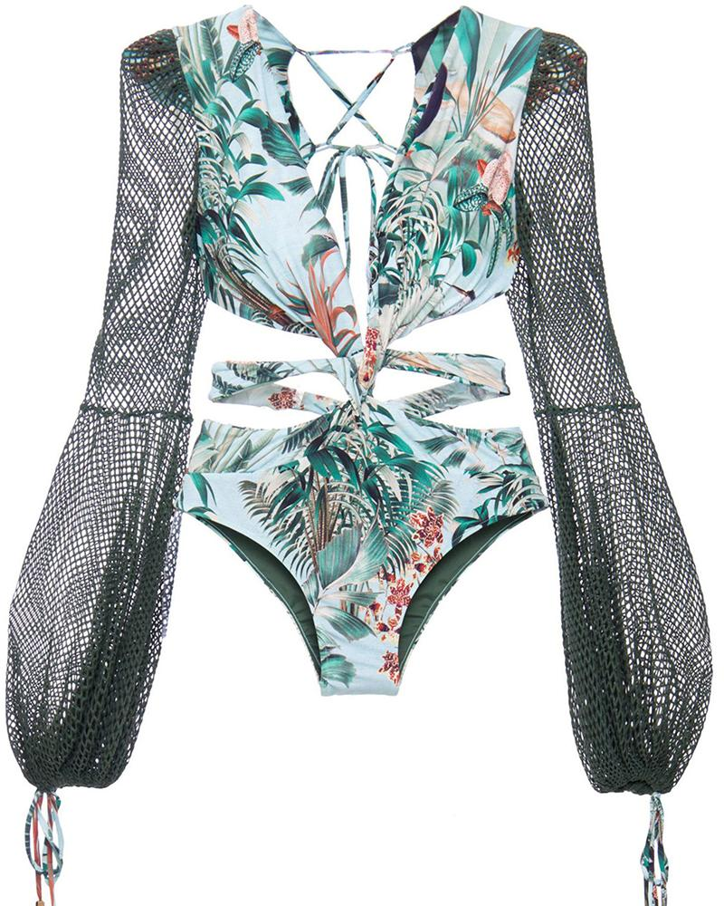Floral Tie Back One-Piece Swimsuit