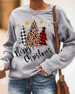 Christmas Letter Tree Print Long Sleeve Casual Sweatshirt