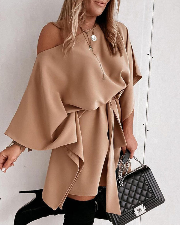 Tie Detail One Shoulder Casual Dress