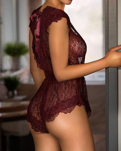 Eyelash Lace Plunge Tie Open Back Lingerie
