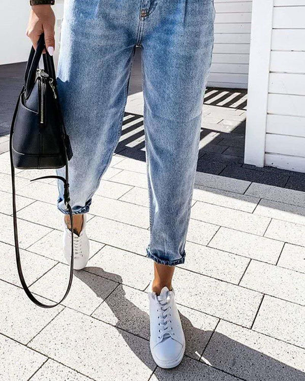 Roll Hem One Button Denim Jeans