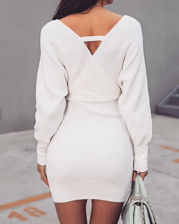 Cut Out Back Wrap Sweater Dress