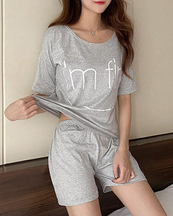 Letter Print Short Sleeve Pajamas Set