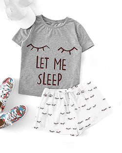 Print Short Sleeve Round Neck Pajamas Set
