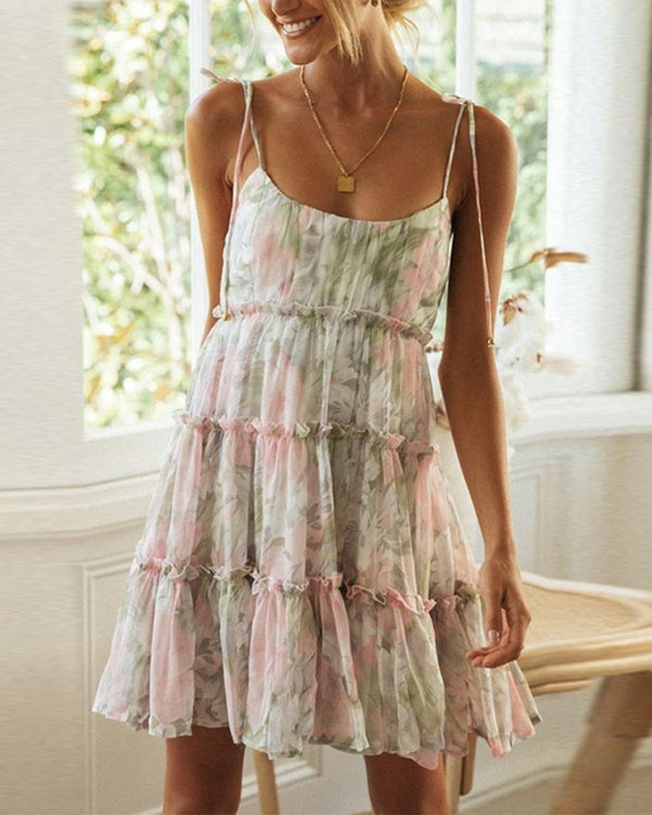 Flroal Strappy Sleeveless Ruffles Sun Dress