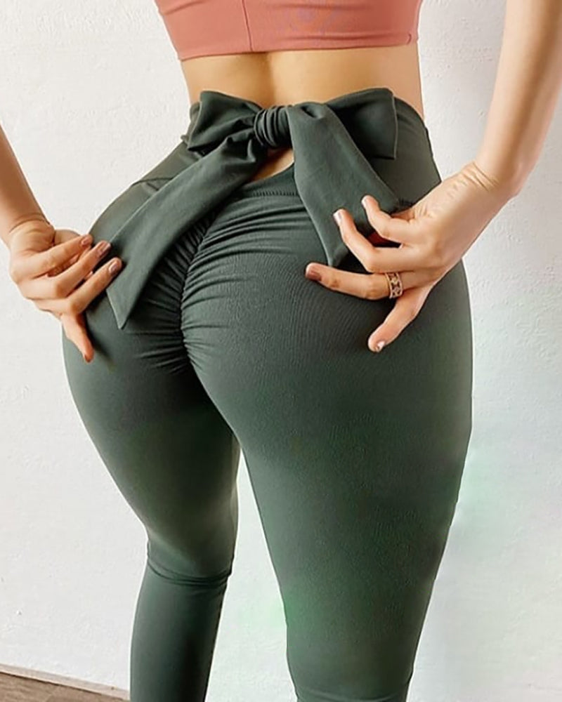 High Waisted Bownot Design Yoga Pants Butt Lifting Scrunch Booty Leggings