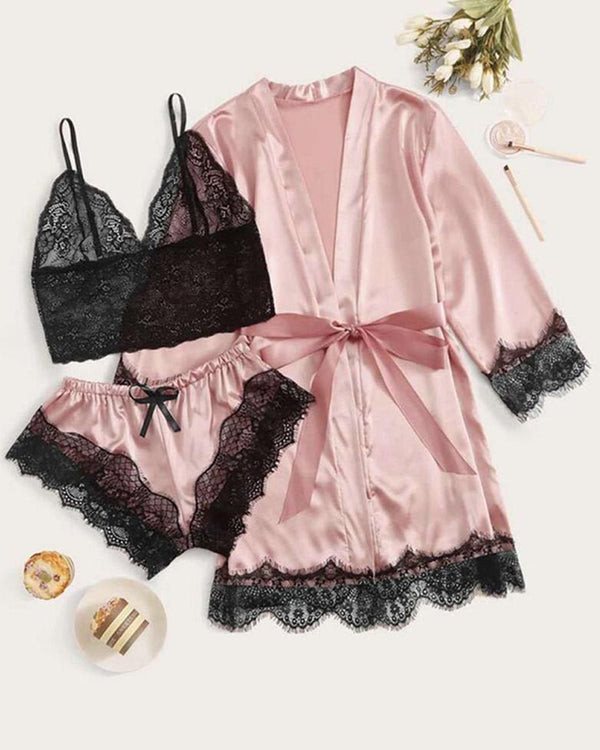 3PCS Lace Trim Satin Sexy Sleepwear