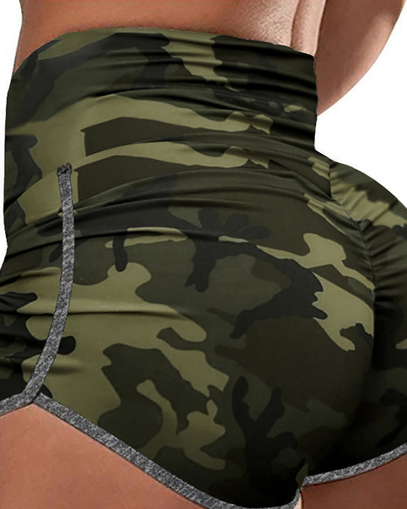 High Waist Camouflage Print Sporty Shorts