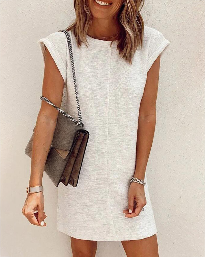 Rolled Hem Short Sleeve Casual Dress