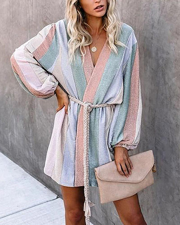 Wide Striped Long Sleeve Skinny Waist Dress With Belt