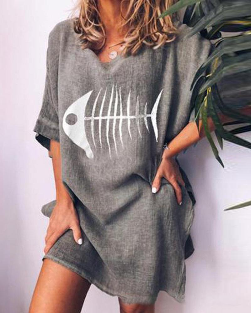 Fishbone printed round neck loose casual T-shirt