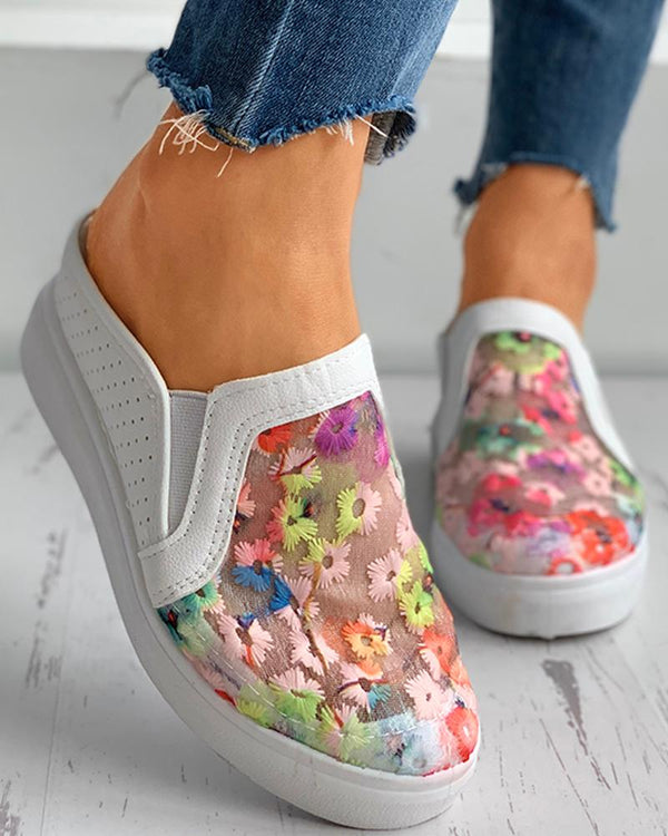 Floral Pattern Sheer Mesh Casual Muffin Shoes