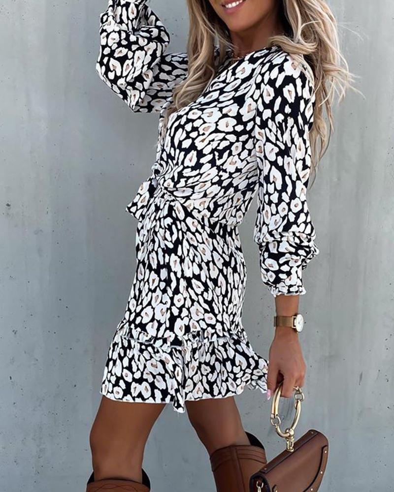 Print Ruffles V-neck Mini Dress