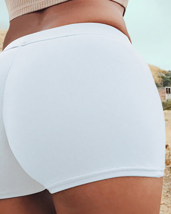High Waist Solid Sporty Shorts