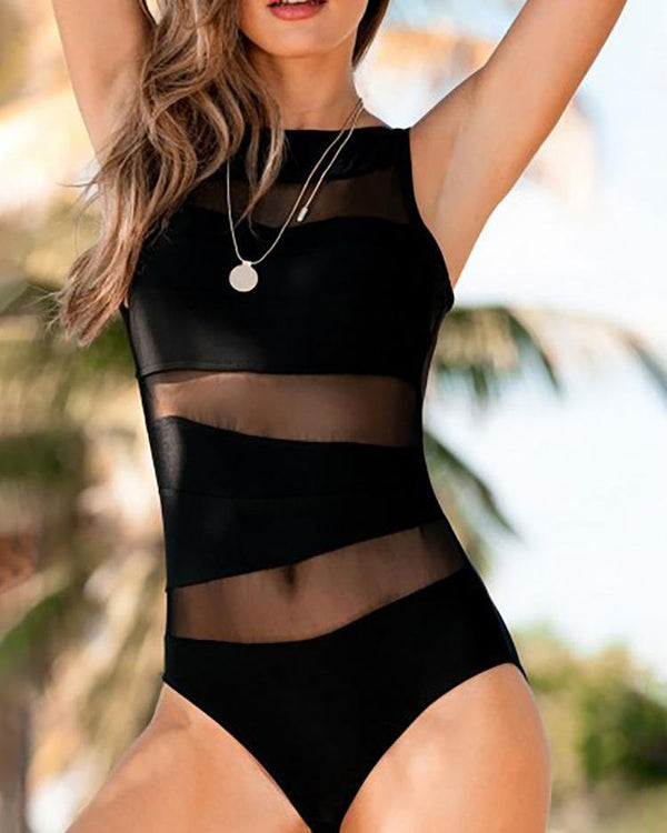 Mesh Insert Sleeveless One Piece Swimsuit
