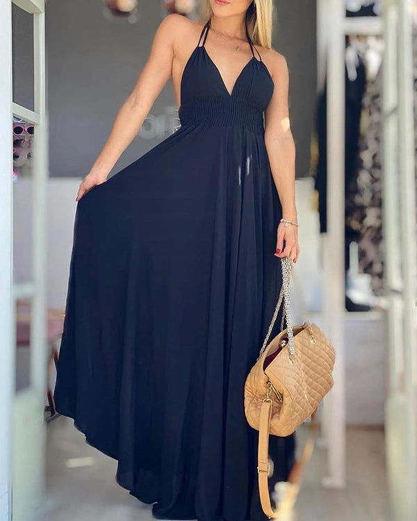 Halter Shirring Design Double Strap Backless Maxi Dress
