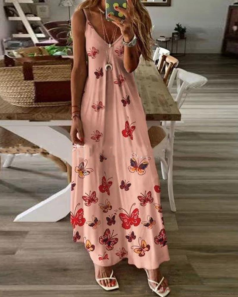 Butterfly Print Cami Maxi Dress