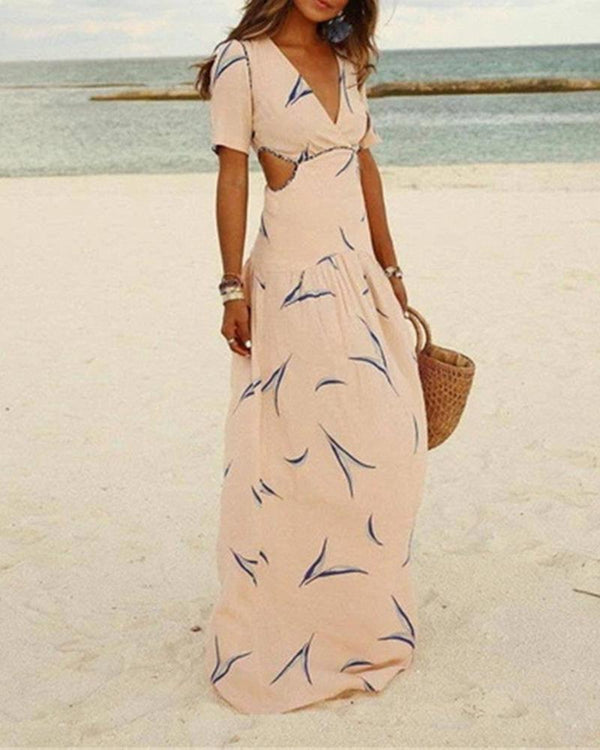Boho Print Cut-out Maxi Dress