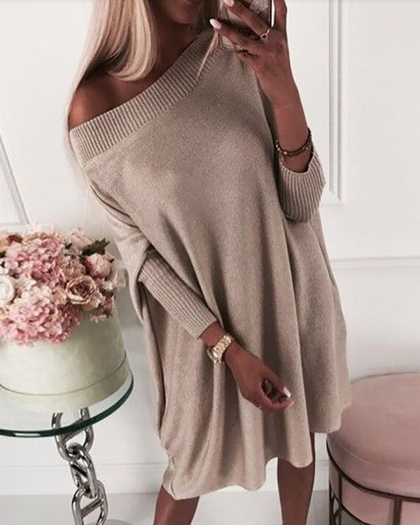 Plain Batwing Sleeve Knit Sweater Dress