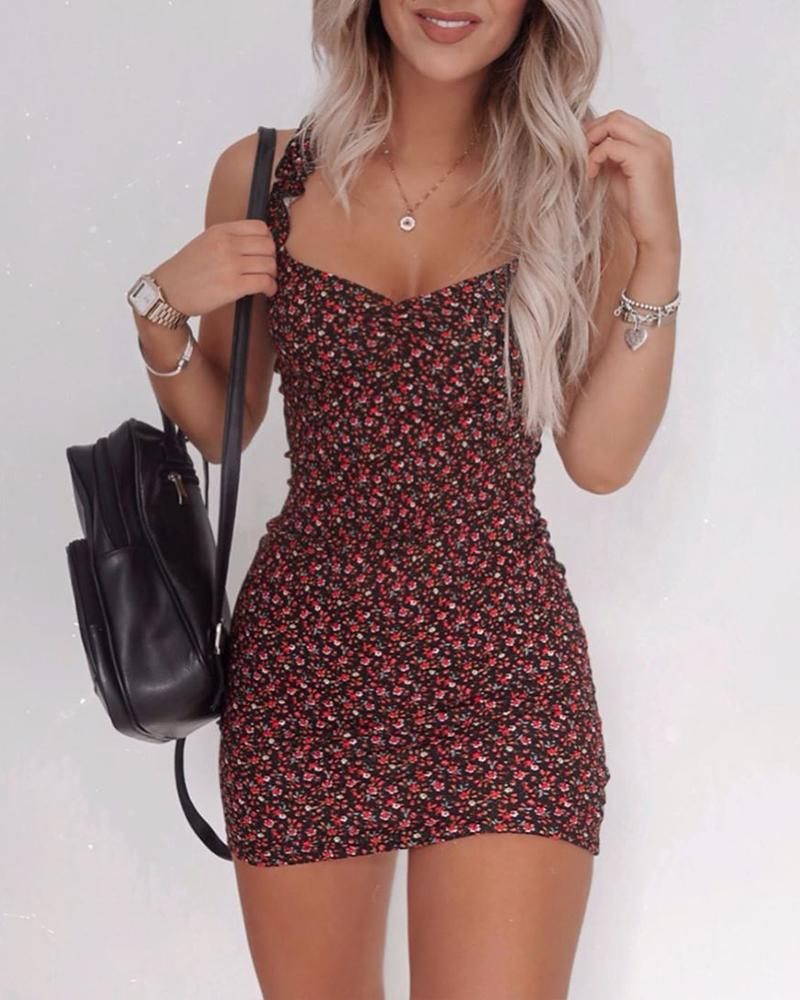 Floral Ruffle Strap Cami Dress