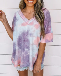 Tie Dye Print V-neck Casual T-shirt