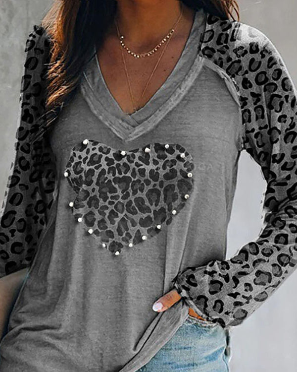 Leopard Print Heart Pattern Long Sleeve T-shirt