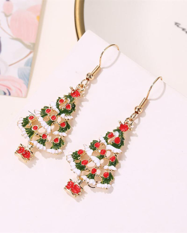 Christmas Tree Pattern Drop Earring & Necklace Set