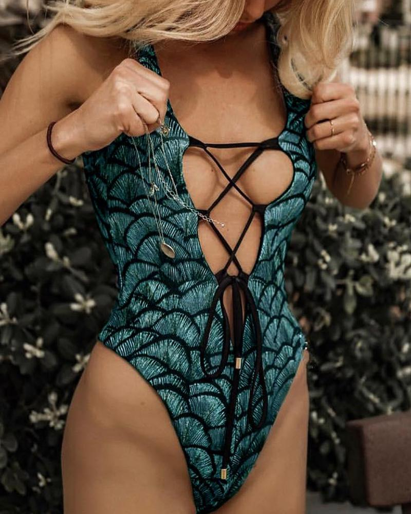 Fish Scale One-Piece Swimsuit