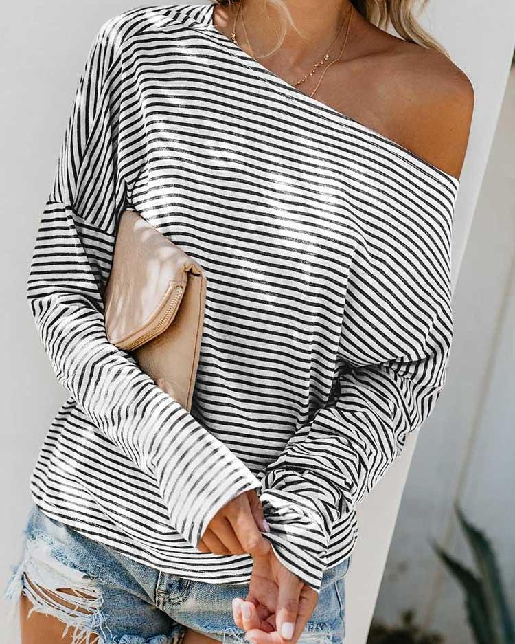 Pinstripes Boat Neck Bat-Wing Sleeve T-Shirt