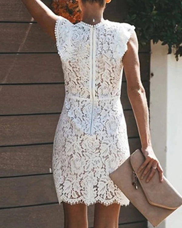 Floral Lace Ruffle Hem Sleevelss Mini Dress