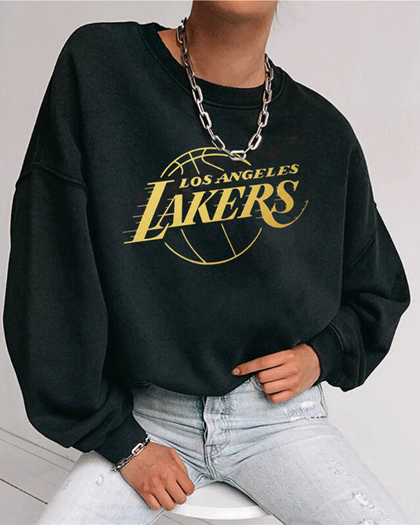 Letter Print Long Sleeve Loose Sweatshirts