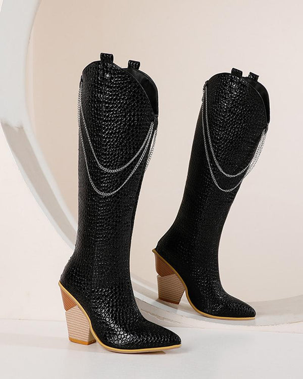 Solid Chain Pointed Toe Block Heel Western Boots