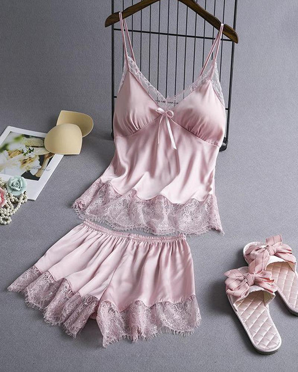 Satin Lace Hem Cami Set