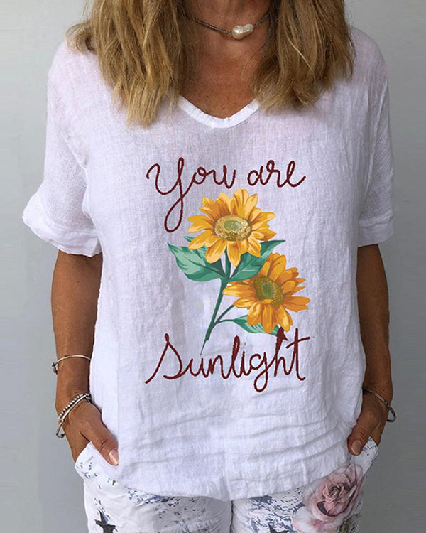 Print V Neck Loose T-shirt