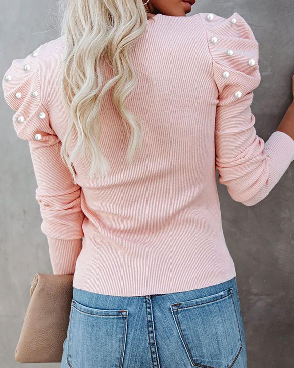 Beaded Puffed Sleeve Cutout Top