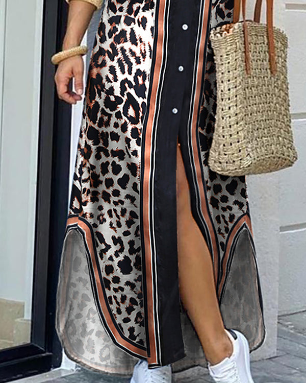 Leopard Print Slit Buttoned Shirt Dress