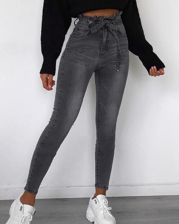 Solid Paperbag Waist Denim Pants