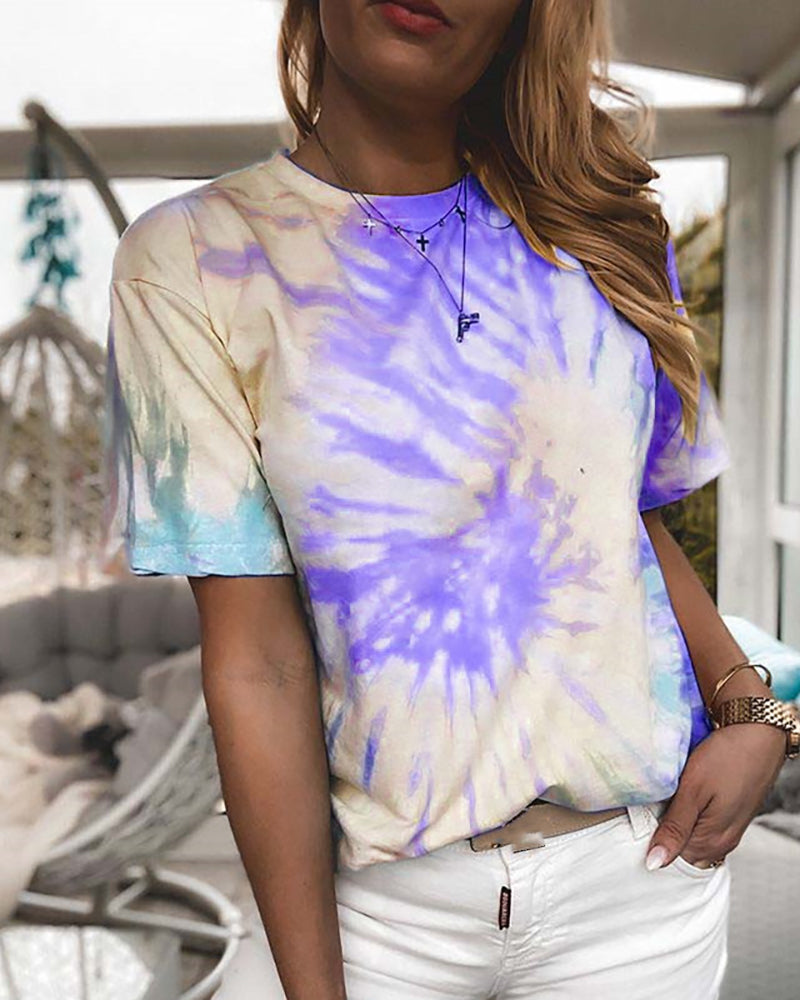 Tie Dye Print Short Sleeve Casual T-shirt