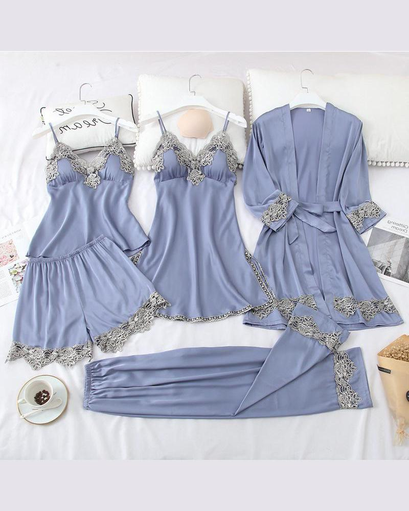 Satin 5-Piece Pajama Set
